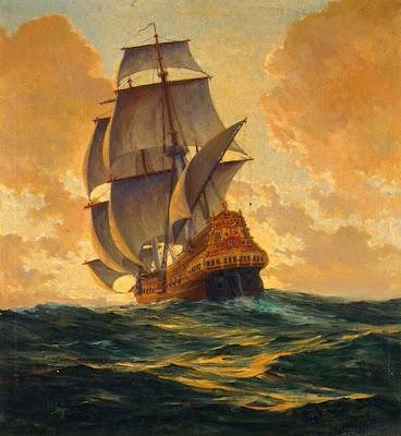 Galeón español del Siglo XVII.  Óleo de Antón Otto Fisher