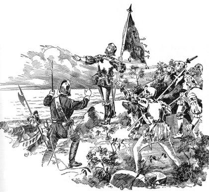 """Reproducción del momento en que Vasco Núñez de Balboa, el 25 de septiembre de 1513, toma posesión de las nuevas tierras en nombre del rey de Castilla, rodeado por sus hombres y en presencia de su escribano Andrés de Valderrábano , que dejaría constancia de este hecho en un pergamino que llevaba a tal efecto """"los caballeros e hidalgos y hombres de bien que hallaron en el descubrimiento del Mar del Sur con el magnífico y muy noble señor el capitán Vasco Núñez de Balboa, gobernador de Su Alteza a que ratifiquen que ese señor Vasco Núñez de Balboa fue el primero que vio ese mar y que se lo mostró a los siguientes."""