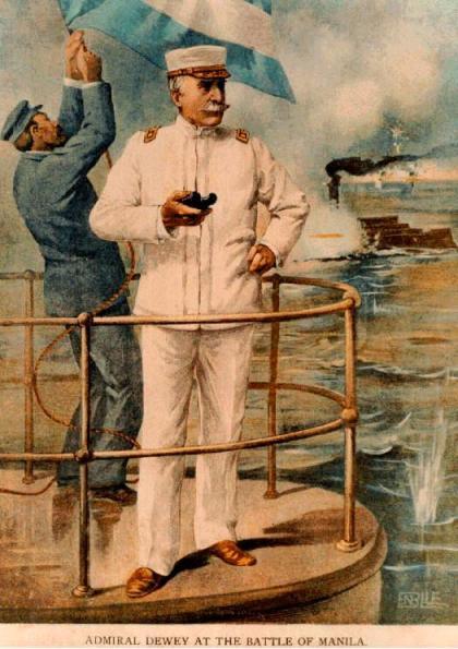El almirante DEWEY y el submarino PERAL