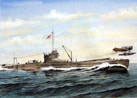 Submarino I-25 lanzando un hidroavión Seiren