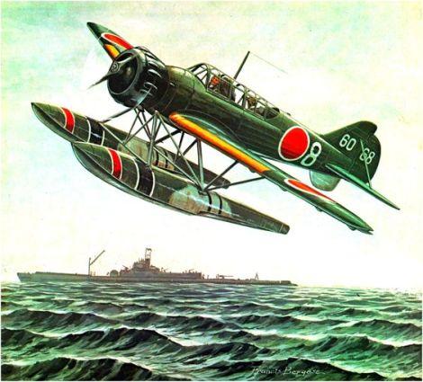 Yokosuka E14Y1 Glen sobrevolando el submarino japonés I-401. Uno de estos hidros fue lanzado desde un