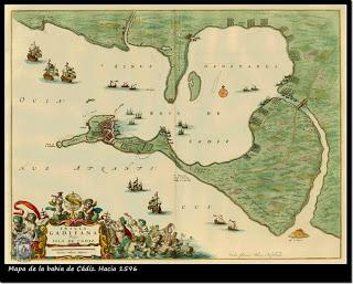 Mapa de la bahía de Cádiz, siglo XVII.. Capture of Cadiz