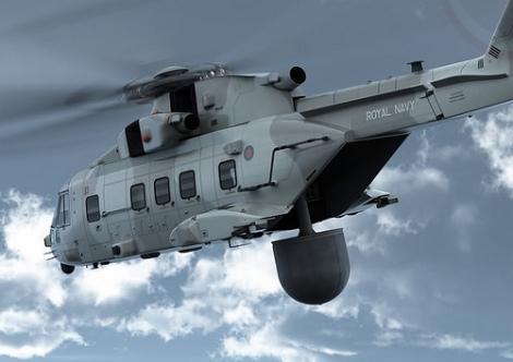Propuesta de montaje del sistema Cerberus y radar Searchwater 2000 a bordo del helicóptero Merlin (Copyright Augusta Westland)
