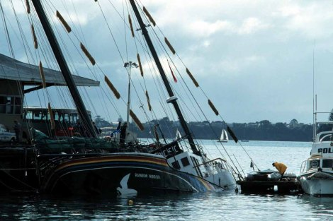 Aftermath of Shipwreck After the Rainbow Warrior Bombing