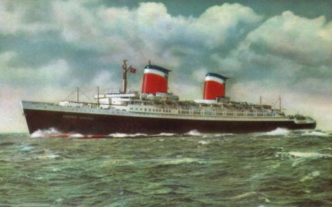 1.- Postal a color del SS United States